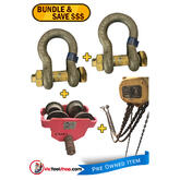 Boss Bullivants Chain Hoist 5 Ton x 3m Drop, 5 Ton Beaver Girder Trolley and 2 x 6.5 Ton Bow Shackles - Used Item