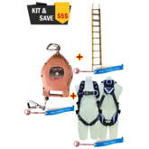 Branach Extension 3.3m to 5.2m Fibreglass Ladder, Fall Arrestor and Exofit Safety Harness
